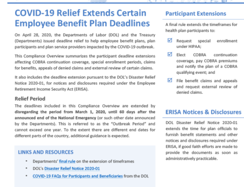 COVID-19 Relief Extends Certain Employee Benefit Plan  Deadlines