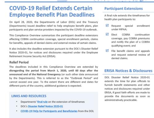 COVID-19 Relief Extends Certain Employee Benefit Plan  Deadlines