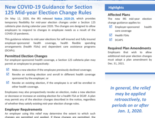 New COVID-19 Guidance for Section 125 Mid-year Election Change Rules